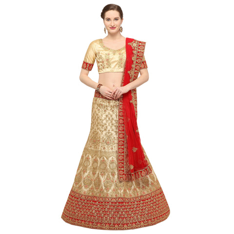Beige Color Silk Semi Stitched Lehenga - MANIKARNIKA30104