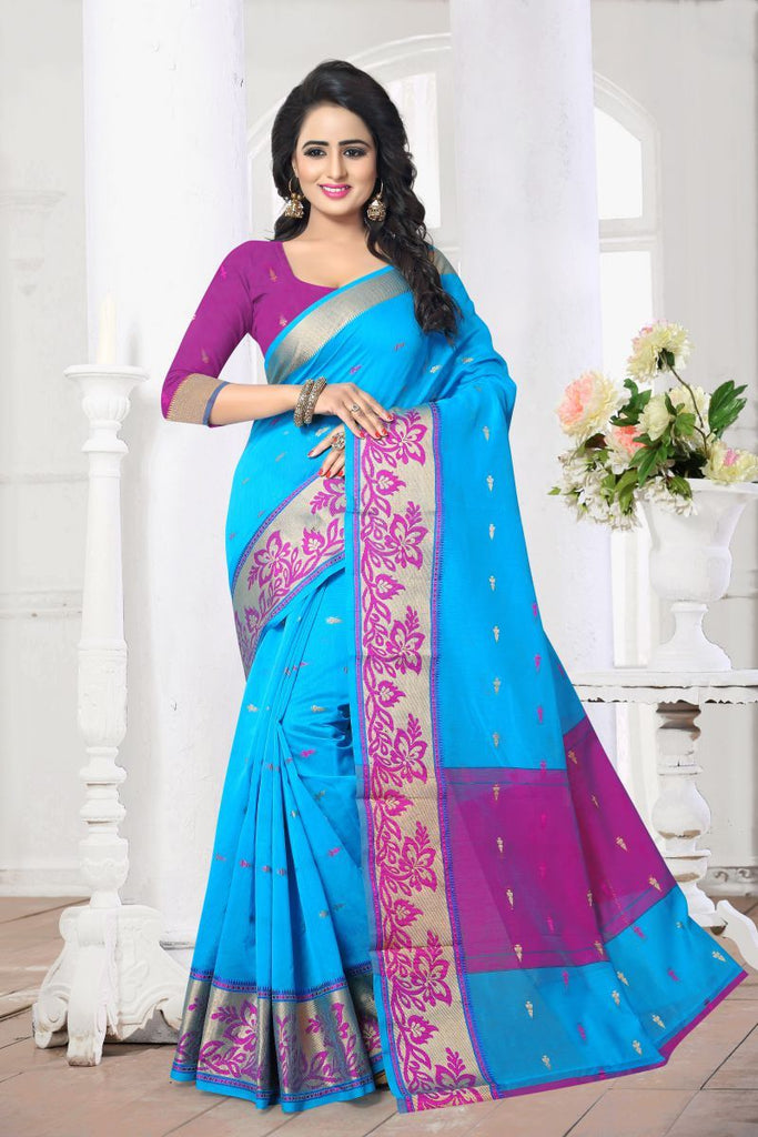 Aqua Blue Color Banarasi Silk Saree