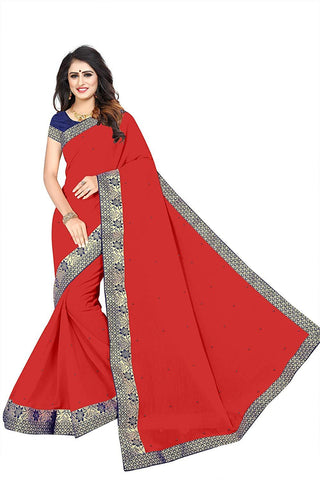 Red Color Gerogette Moti work Saree - MASTANI-Red