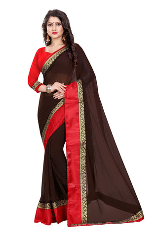 Brown Color Chiffon Designer Saree - MAYURKA-1307