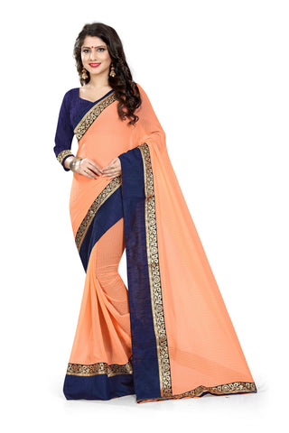 Peach Color Chiffon Designer Saree - MAYURKA-1310