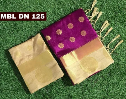 Magneta Color Tussar Raw Silk Saree - MBL-DN125-Magenta