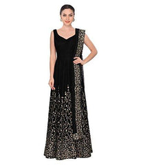 Buy Black Color Taffeta Silk Semi Stitched Gown