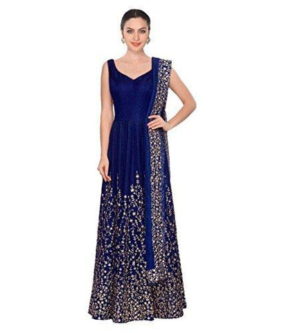 Blue Color Taffeta Silk Semi Stitched Gown - MC-BLUE-TAFFETA