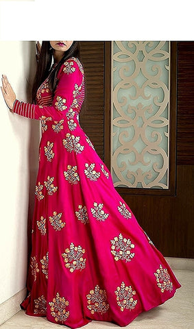 Divya Pink Color Taffeta Silk Semi Stitched Gown - MC-DIVYAPINK