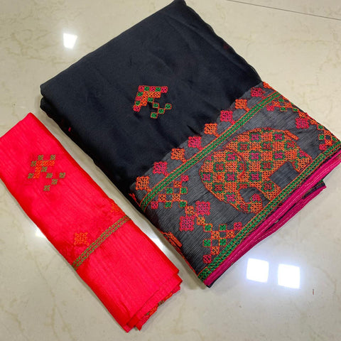 Black Color Soft Chiffon Saree - MC-KASHMIRI-1