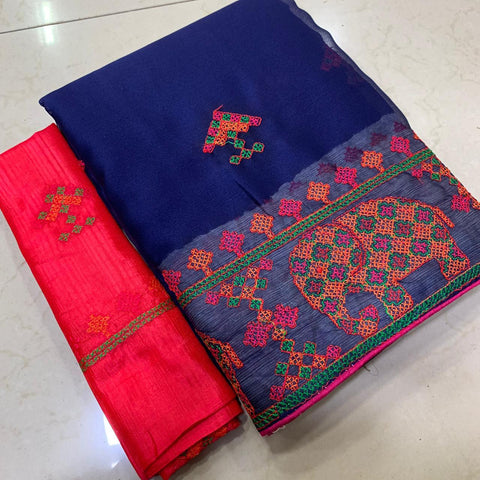 Royal Blue Color Soft Chiffon Saree - MC-KASHMIRI-2