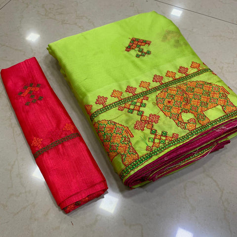 Parrot Green Color Soft Chiffon Saree - MC-KASHMIRI-3