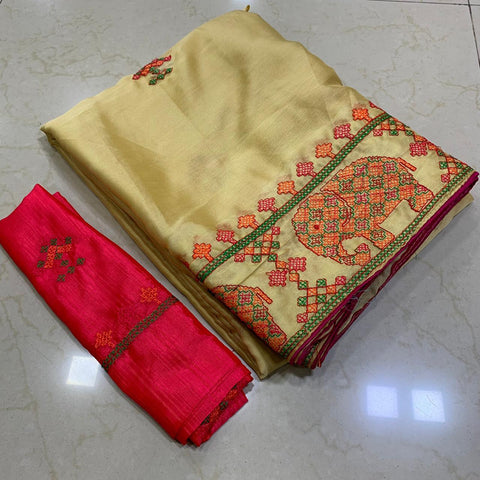 Golden Color Soft Chiffon Saree - MC-KASHMIRI-4