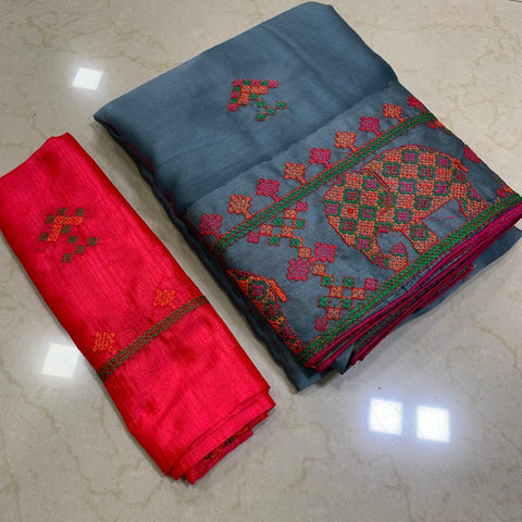 Gray Color Soft Chiffon Saree - MC-KASHMIRI-5