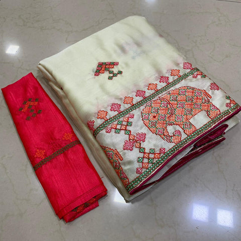 Beige Color Soft Chiffon Saree - MC-KASHMIRI-6