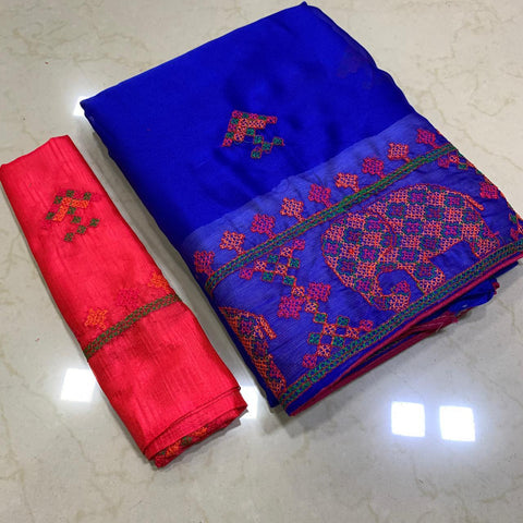 Blue Color Soft Chiffon Saree - MC-KASHMIRI-7