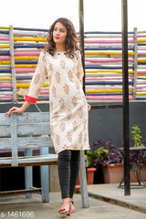 Buy Beige Color Flex Cotton Women's Kurti
