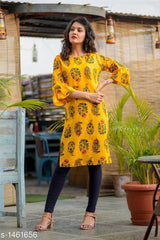 Buy Yellow Color Flex Cotton Women's Kurti