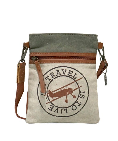 Multi Color Upcycled Canvas And Buff Leather Womens Cross Body Bag  - MC81600CB