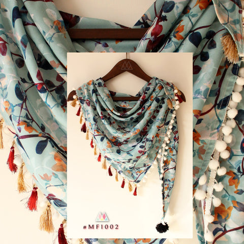 Pale Blue Color Polyester Stole - MF1002