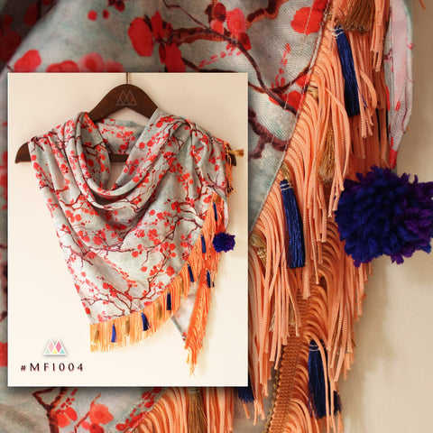 Blue And Peach Color Polyester Stole - MF1004