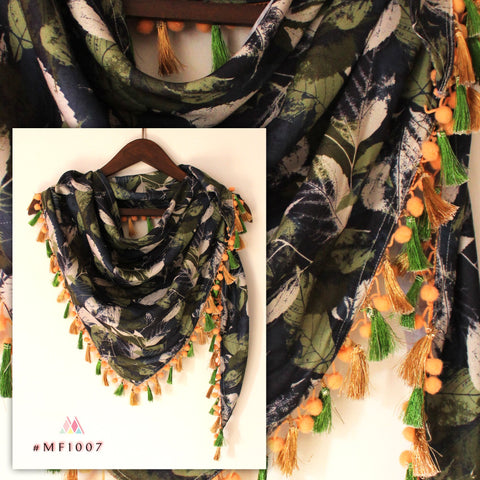 Deep Green Color Polyester Stole - MF1007