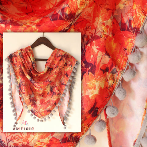 Orange Color Polyester Stole - MF1010