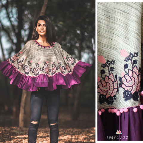 Purple Color Pure Khadi Stitched Ponchos - MF1200