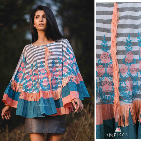 Grey And Peach Color Pure Khadi Stitched Ponchos - MF1206