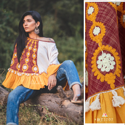Rust And White Color Pure Khadi Stitched Ponchos - MF1207
