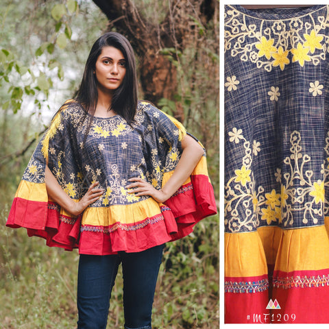 Slub Navy Blue Color Khadi Stitched Ponchos - MF1209