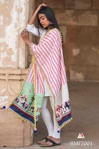 Multi Color Khadi Dupatta - MF7001