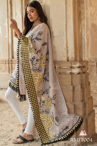 Grey And Yellow Black Checks Color Khadi Dupatta - MF7004