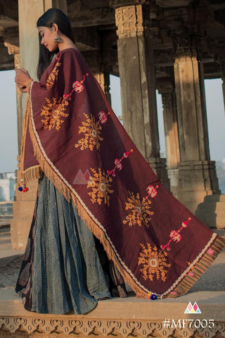 Wine Color Khadi Dupatta - MF7005
