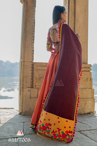 Musturd And Wine Color Khadi Dupatta - MF7008