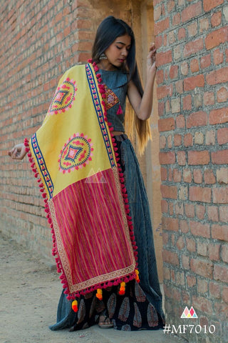 Lemon Yellow And Red Lining Color Khadi Dupatta - MF7010