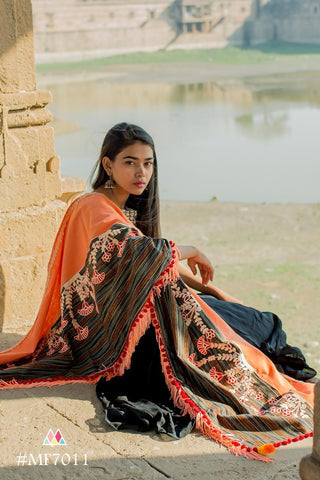 Peach And Multi  Color Khadi Dupatta - MF7011