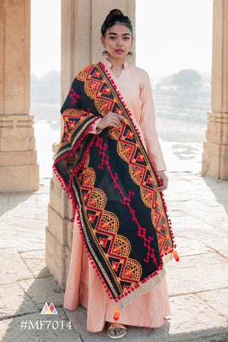 Multi Color Khadi Dupatta - MF7014