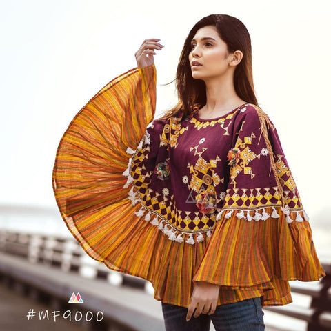 Multi Color Khadi Stitched Ponchos - MF9000