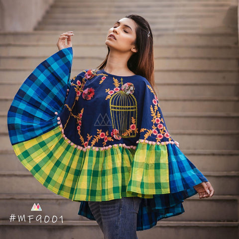Multi Color Khadi Stitched Ponchos - MF9001