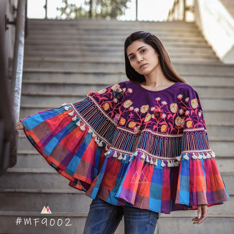 Multi Color Khadi Stitched Ponchos - MF9002