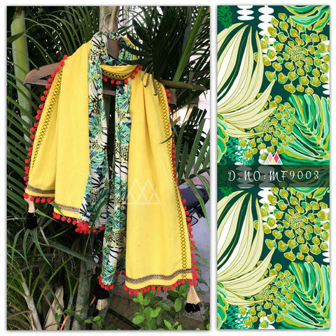 Pale Yellow And Pale Green Color Pure Khadi And Printed Poly Stole - MFA9003