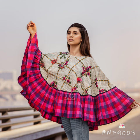 Multi Color Khadi Stitched Ponchos - MF9003
