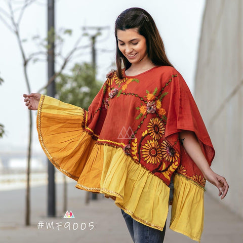 Multi Color Khadi Stitched Ponchos - MF9005