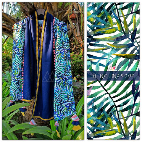 Navy Blue Color Pure Khadi And Printed Poly Stole - MFA9007