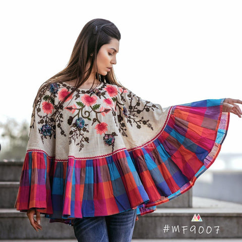 Multi Color Khadi Stitched Ponchos - MF9007