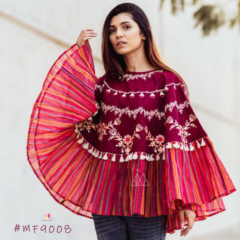 Multi Color Khadi Stitched Ponchos - MF9008