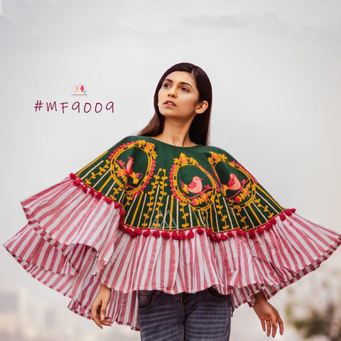 Multi Color Khadi Stitched Ponchos - MF9009