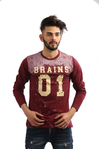 Maroon Color Cotton Mens Tshirt - MG-1003-MAROON