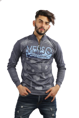 Grey Color Cotton Mens Tshirt - MG-1004-GREY