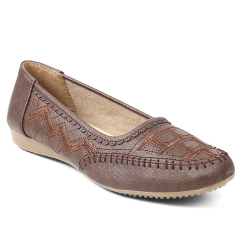 MERIGGIARE Brown Color Synthetic Women Ballerinas - MGFI4542C