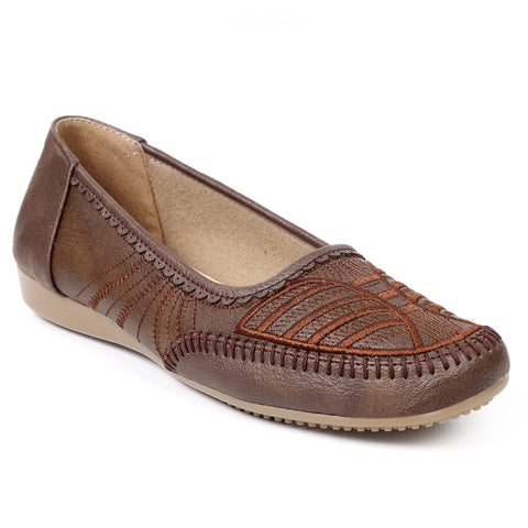 MERIGGIARE Brown Color Synthetic Women Ballerinas - MGFI4543C
