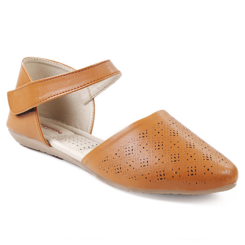MERIGGIARE Tan Color Synthetic Leather Women Flat Sandals - MGFJ5123D