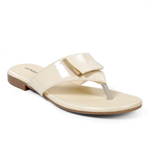 MERIGGIARE Beige Color Synthetic Leather Women Flat Sandals - MGFJ5125E